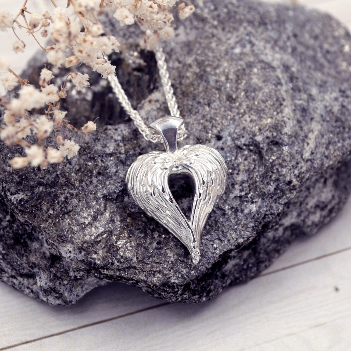 Silver Angel Heart Necklace